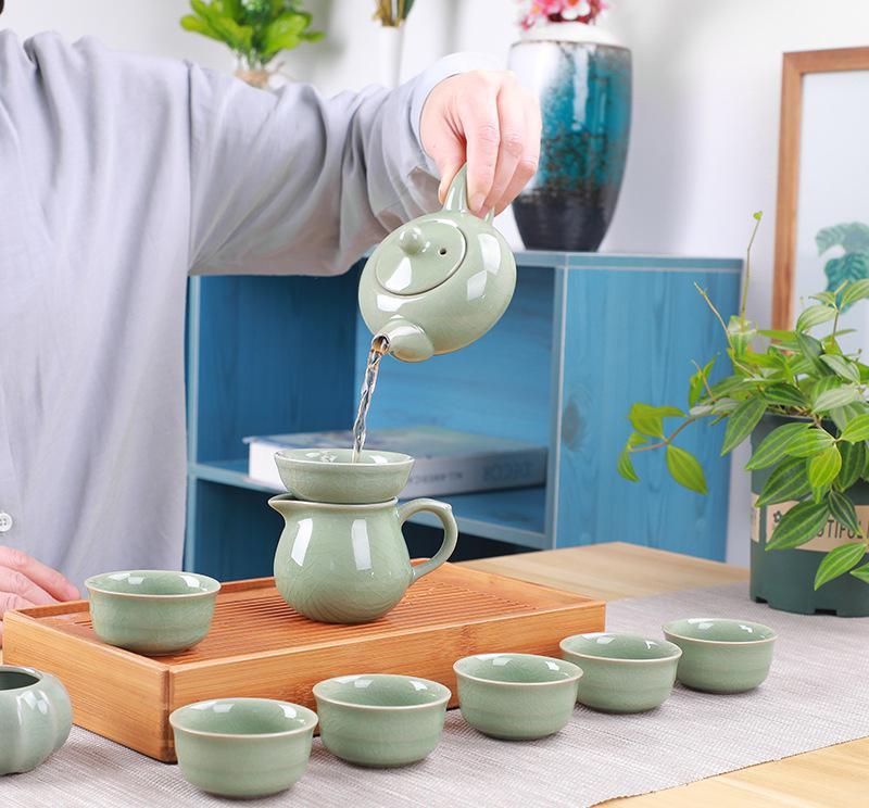 Ensemble de thé de luxe 10 pièces chine, théière + 6 tasses + filtre + tasse de séparation céramique Kungfu porcelaine thé cérémonie noir/puer/vert/blanc