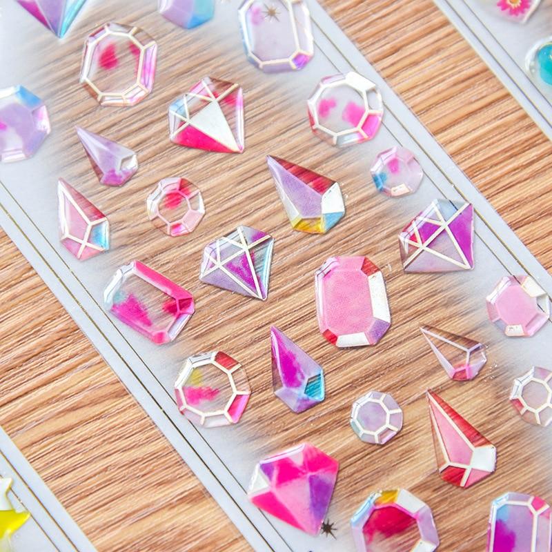 Transparent Crystal diamond Decorative Sticker Cute Cat DIY Diary Album Scrapbooking Label Stickers Stationery school supplies