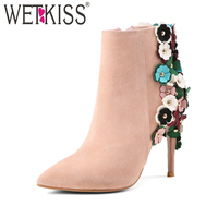 WETKISS Brand Designers Appliques Ankle Boots Elegant Winter Boots Sexy High Heels Genuine Leather Ladies Shoes