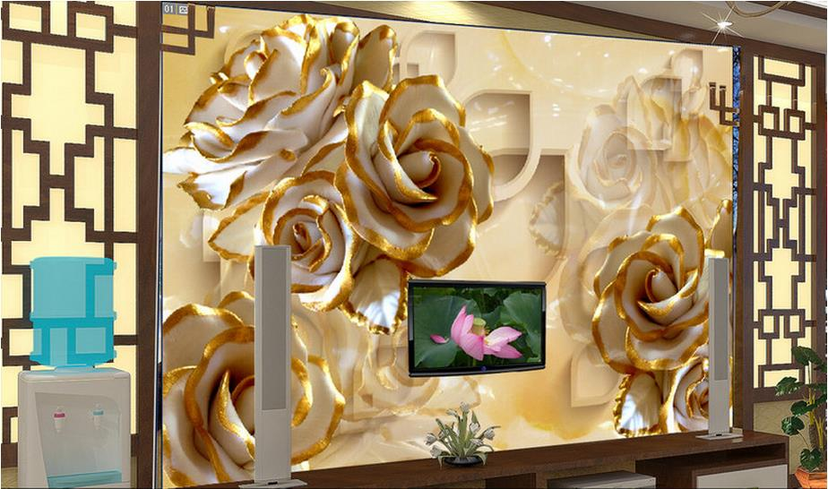 customize 3d wall murals home decor Embossed roses 3d photo wallpapers for living room 3d mural wallpaper 1 06m deep embossed vinyl coated wallpapers floral grass flower wall paper mural for project high quality bedroom home decor
