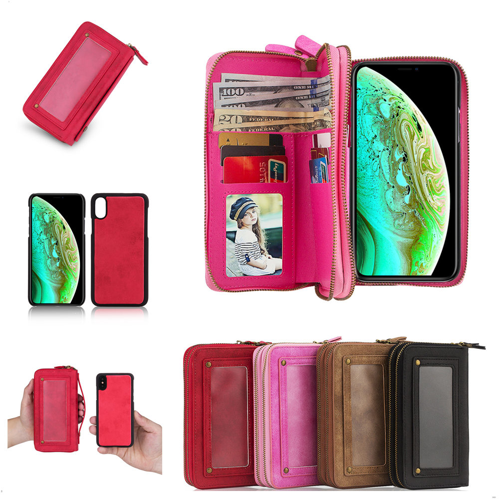 Hot PU Wallet Phone Case for iPhone 5 5s Se 6 7 8 X Xr Xs Max Duable Zipper Purse Shell with Card Slots Protective Back Cover