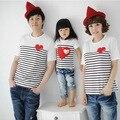 Desgaste do verão moda família criança bebés kids, Pai mãe filha coração listrado de manga curta T - shirt tops S1687