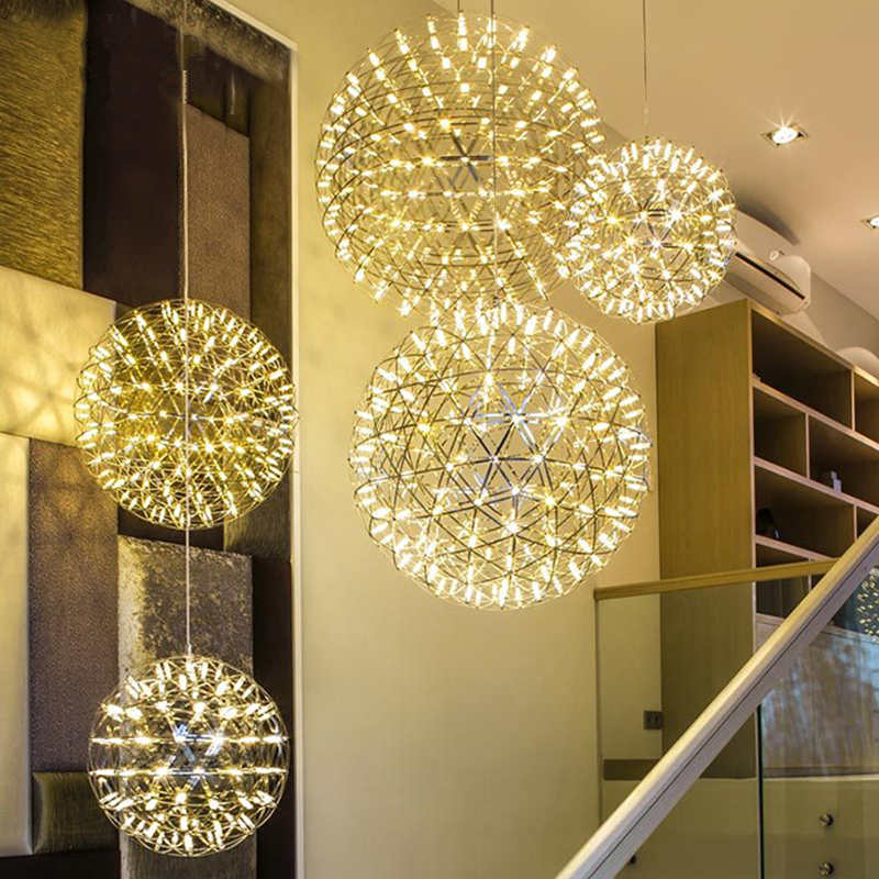 Handmade Spark Ball Pendant Lights Stainless Steel Circle Firework Led Lamp Restaurant Hanglamp Lamparas Colgantes Lustre Abajur