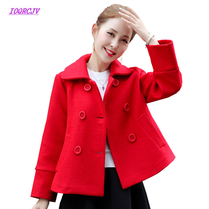 High Quality Winter Womens Short Woolen Coat Female Elegant Bouble breasted Coat cloak Short Outerwear Temperament