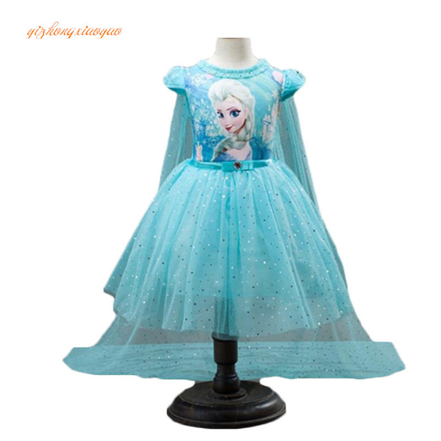 3-10 yearsold Children's Kids Summer Cosplay Costumes+Cape Girl Dress Lace Princess Elsa Dress Snow Queen Dresses For Party Gir