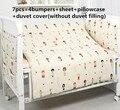 Promotion! 6/7PCS 100% Cotton Baby Bumper Crib,Baby Kit Cot Bed,Boys Crib Bedding Set,Duvet Cover ,120*60/120*70cm