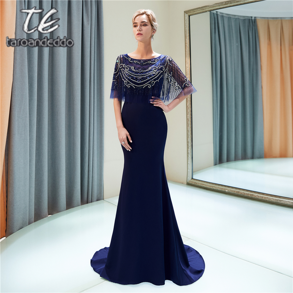 Scoop Half Sleeves Navy Blue Satin   Prom     Dresses   Beading Sheath Zipper Illusion Back Long Evening Formal Party   Dress