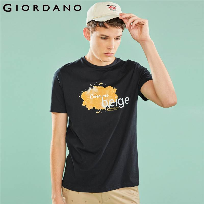 18db49280876 Giordano Men T Shirt Men Color Me Printed Letter Round Neck Short Sleeves  Tees Shirt Homme