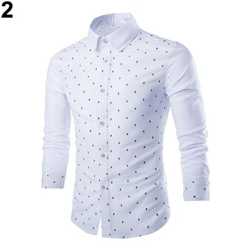 Men's Fashion Smart Casual Skull Print Long Sleeves Slim Fit Button Dress Shirt Top