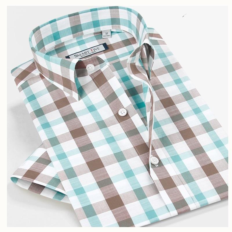 Smartfive Pánské košile 75% Bavlna 25% Polyester Camisa Masculina 2017 Nové Pánské Košile Krátký rukáv Neformální Košile Košile Značka  t