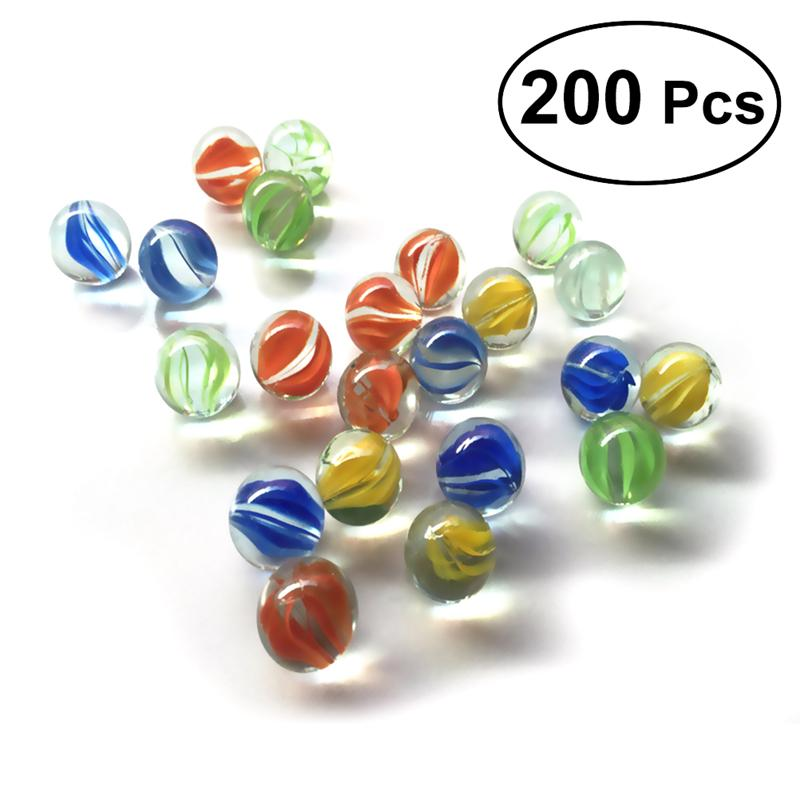 200 PCS 16MM Colorful Glass Marbles Children Toys Glass Ball Kids Traditional Game Play Craft Art