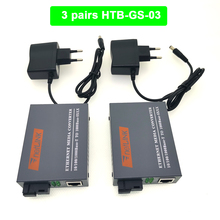 3pairs HTB GS 03 Gigabit Fiber Optical Media Converter 10/100/1000Mbps  Single Mode Single Fiber SC Port mini Power Supply