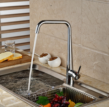 Modern Deck Mount Brass Kitchen Mixer Faucet Single Handle with Hot Cold Water Chrome Finished