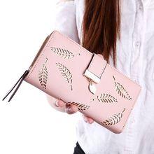 Купить с кэшбэком Leaves Hollow Women Wallets Soft PU Leather Women's Long Clutch Purses Female High Quality Zipper Wallet Lady Coin Card Holder
