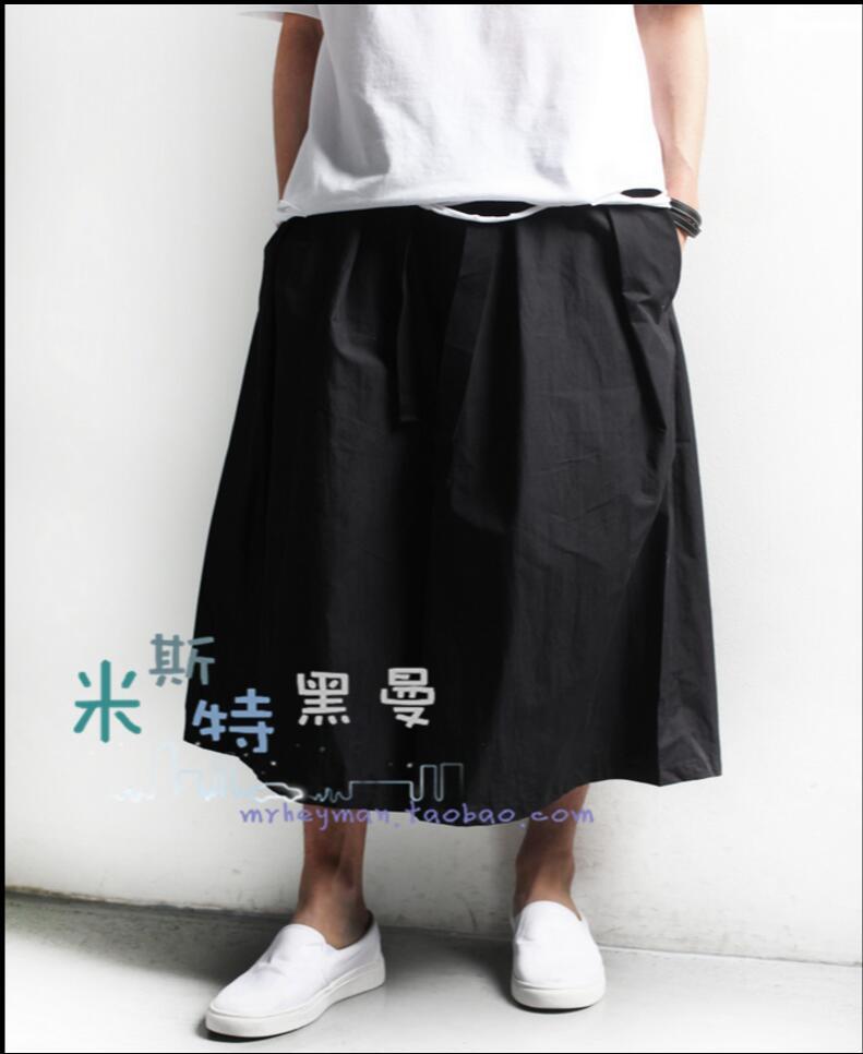 27-44 2018 New Retro Skirt Pants men fashion culottes pants loose casual wide leg pants hairstylist nightclub singer costumes