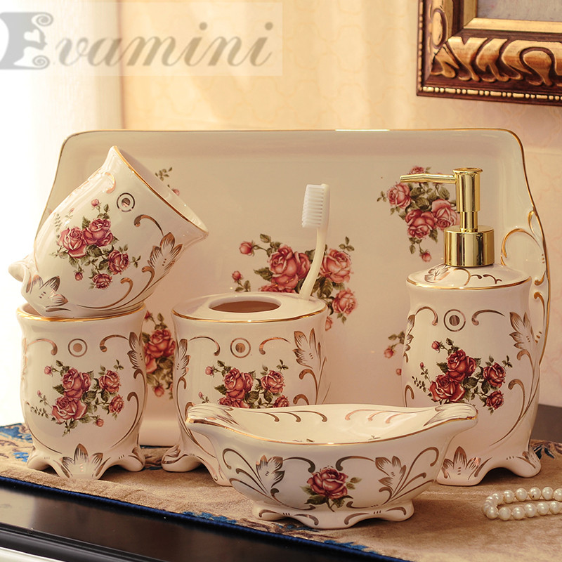 Ceramic Bathroom Set Five Piece Of Bathroom Item Fashion Modern Toothbrush Holder Bathroom Accessories Creative CoupleToilet was image