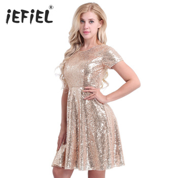 Brand New Women Ladies O-Neck A-line Short Sleeve Shiny Sequins Office Club Party Dresses Formal Summer Dress for Perfect Gifts patchwork