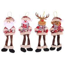Christmas Ornaments Cute Santa Claus Snowman Reindeer Xmas Tree Hanging Decorations Door Wall Pendant Plush Doll Children Toy