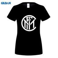 GILDANwomens T Shirts Fashion Inter Milan Logo Printed T Shirt Cotton O NECK Short Sleeved T