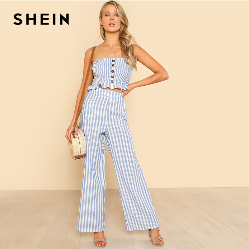 SHEIN Blue Ruffle Strapless Top & Pants Set Women Sleeveless Button Button Casual 2 Pieces Sets Beach Boho Two pieces
