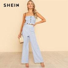 625176428a2 SHEIN Blue Ruffle Strapless Top   Pants Set Women Sleeveless Button Button  Casual 2 Pieces Sets 2018 Beach Boho Twopieces