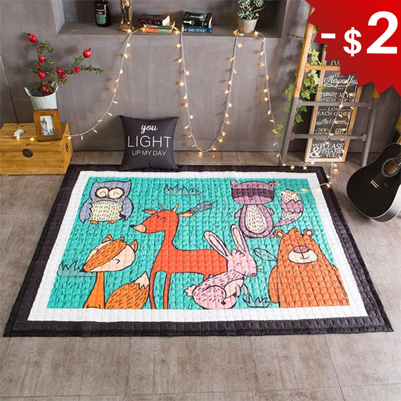 Animals Kids Rug Baby Play Mat in the Nursery Childrens Carpet Pad for Crawling Cartoon Room Decoration Tent Mat 145x195cm