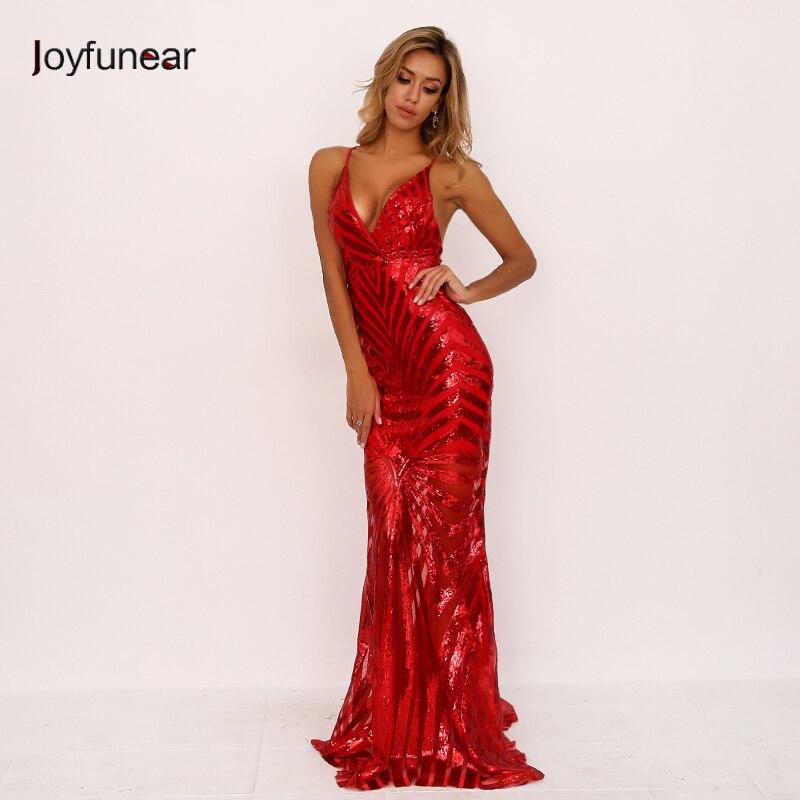 3d0f6455e3 Joyfunear V-neck Backless Bodycon Sexy Sequin Women Dress Winter Red  Elegant Long Party Dress 2018 Mermaid Dresses Vestido Largo