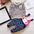 Menina roupas 2016 infantil do bebê meninas ternos 2 pcs camisa listrada de manga comprida + do denim geral calças gato dos desenhos animados