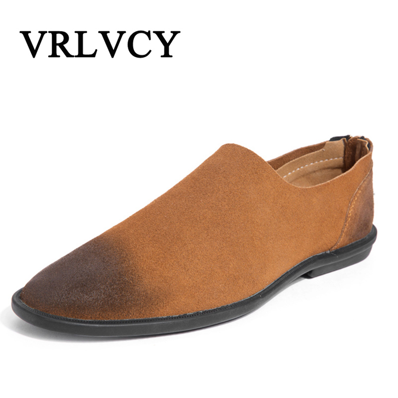 Men's Suede Leather Driving Shoes New Moccasins Slip On Handmade Shoes Brand Design Flats Loafers For Men new style comfortable casual shoes men genuine leather shoes non slip flats handmade oxfords soft loafers luxury brand moccasins