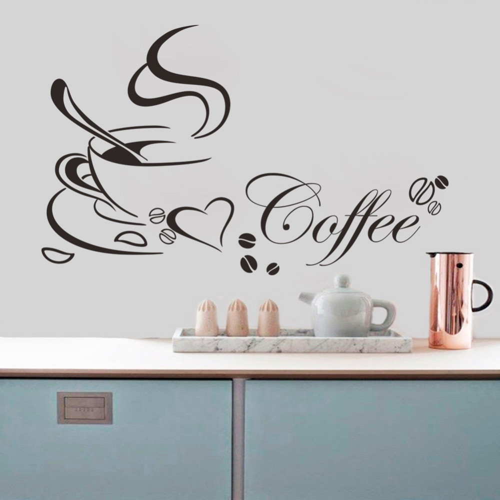 Removable wall art graphic - Coffee Cup With Heart Vinyl Quote Restaurant Kitchen Removable Wall Stickers Living Room Diy Home