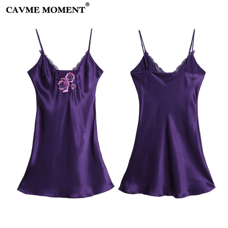 CAVME 2019 Summer Plus Size Silk Spaghetti Strap   Nightgown   Sexy Lace   Sleepshirt   Elegant Nightdressing Solid Color Mini Homewear