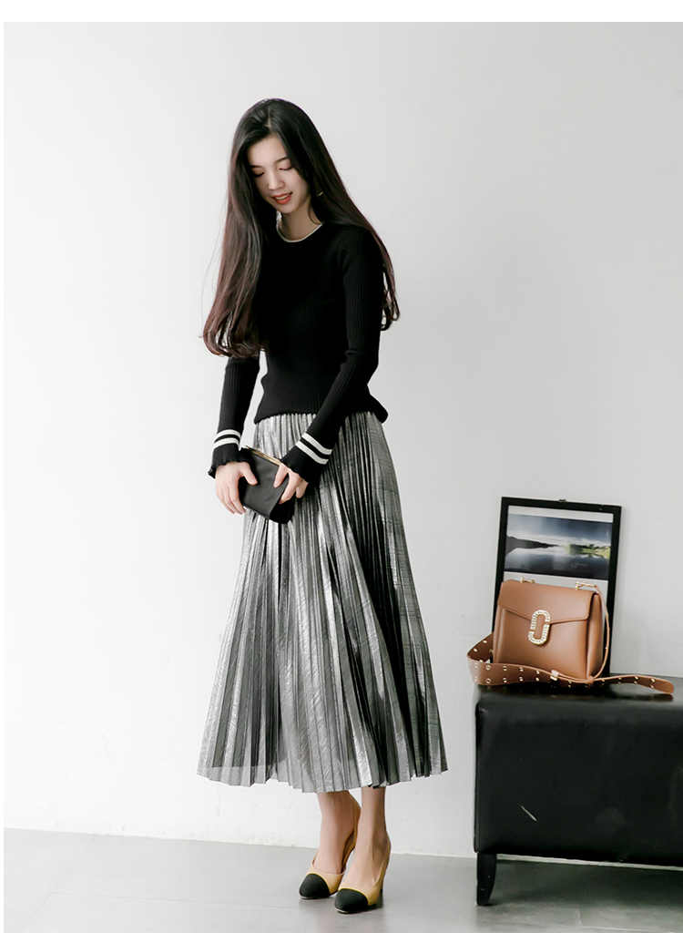 Стример золото Весна Осень Корея металл цвет женские плиссированные юбки высокая талия длинная юбка Faldas Mujer Moda 2018 юбки женские s