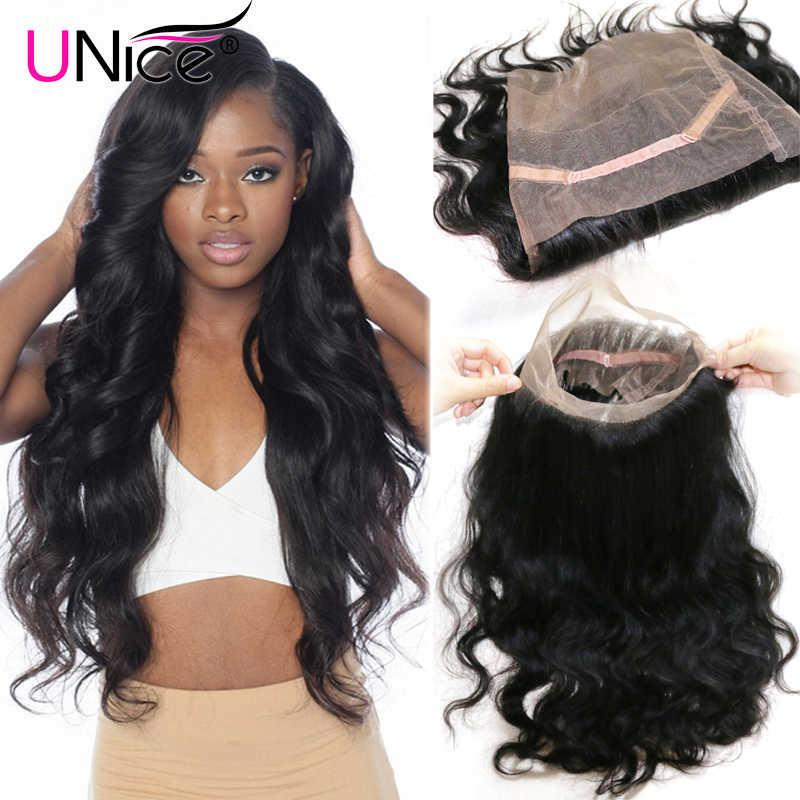 Волосы UNICE, волнистые бразильские волосы, 360, кружевная фронтальная свободная часть, Remy, человеческие волосы, кружевная застежка, 10-20 дюймов, 120% плотность, 1 шт.