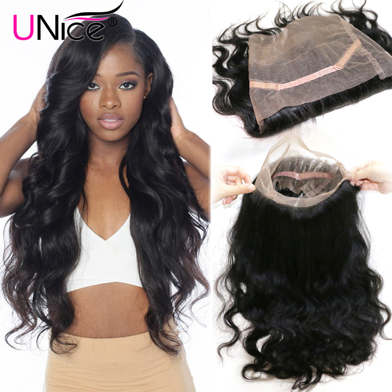 UNice Hair Body Wave Brazilian Hair 360 Lace Frontal Free Part Remy Human Hair Lace Closure 10-20inch 120% Density 1 Piece