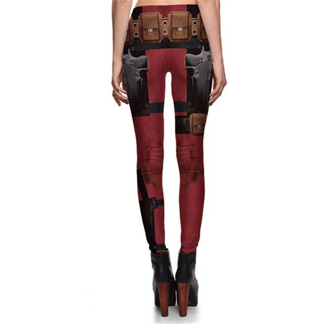Women Fashion Fintess Legging Wine red Digital Print Women's leggings Super HERO Deadpool Leggins Printed leggings 4