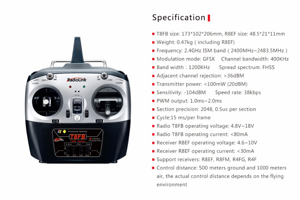 F18738/9 RadioLink T8FB 2.4GHz 8ch RC Transmitter R8EF Receiver Combo Remote Rontrol for RC Helicopter DIY RC Quadcopter Plane