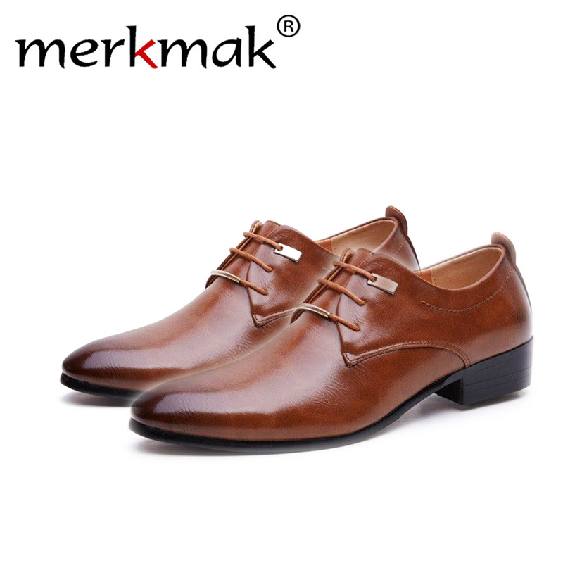 Merkmak Hign Quality 2018 NEW Men Flats Leather Shoes Brogue Pointed Oxford Flat Male Casual Shoes Men's Luxury Brand Size 38-48
