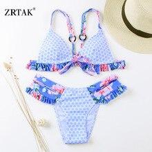 Ruffle Floral Knot Swimsuit Print bikini set NA01