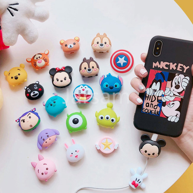Cartoon Protector Cable Cord Saver Cover Coque For iPhone 8 Plus 4 4S 5 5S SE 5C 6 6S 7 X Xs Max XR For Funda iPhone 7 Plus case Car phone
