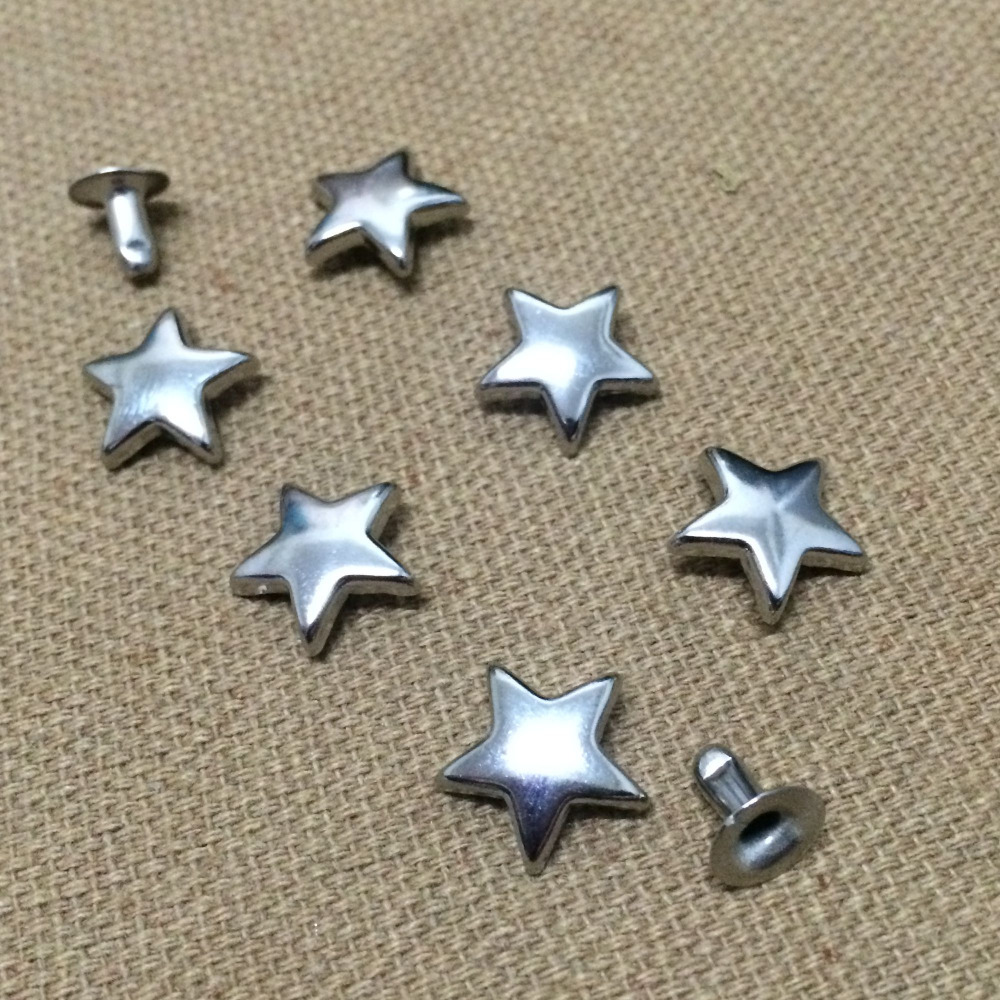 100PCS 11MM Silver Star Studs Punk Spike Studs Spot Fashion Rivet DIY Bags Belt Shoes Wallet Craft Fit For DIY Shipping Free