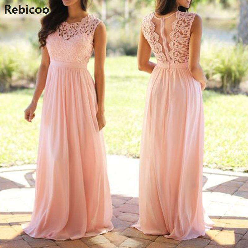 6cfdf4ea5720 Patchwork Laço do vintage Vestido Longo Plus Size 2019 Vestidos de Festa Da  Dama de Honra Do Casamento Vestido Maxi Robe Femme S-5XL Rosa