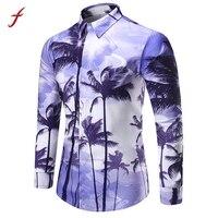 2017 Yeni Moda Mens Hawaiian 3D Gömlek Baskı Bluz Uzun kollu Tees Bluz Üst Standı Yaka Mor Renk Için Giysileri erkekler