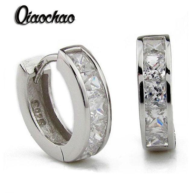 925 silver earrings super shiny sparkling crystal double cubic zircon ear buckle stud earrings for elegant women wedding jewelry