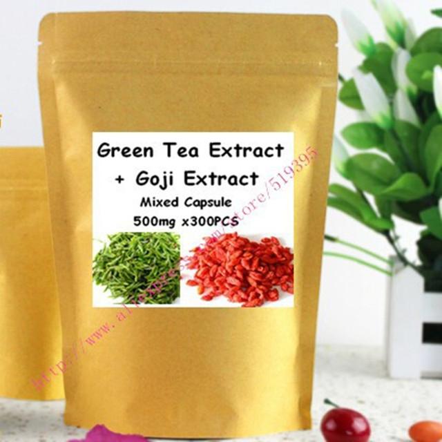 Extrato de Chá verde 98% de Polifenóis Do Chá + Goji Extrato 50% Polissacarídeo Cápsula Pó Misturado 300 PCS Poderoso Antioxidante