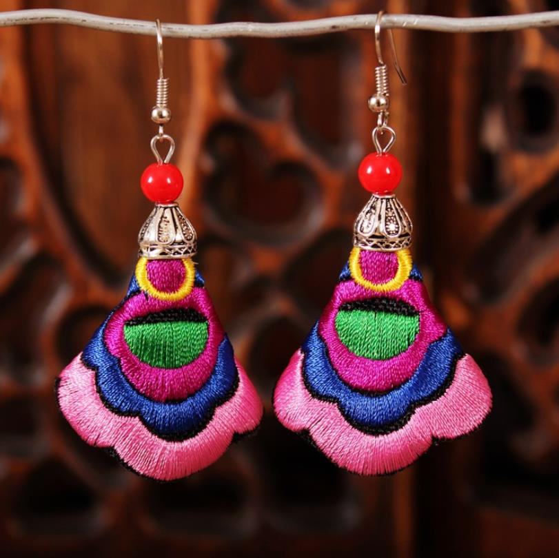 1 Pair Flower Embroidered Earrings for Women Fashion National Style Personality Drop Dangle Earrings Bride Jewelry in Drop Earrings from Jewelry Accessories
