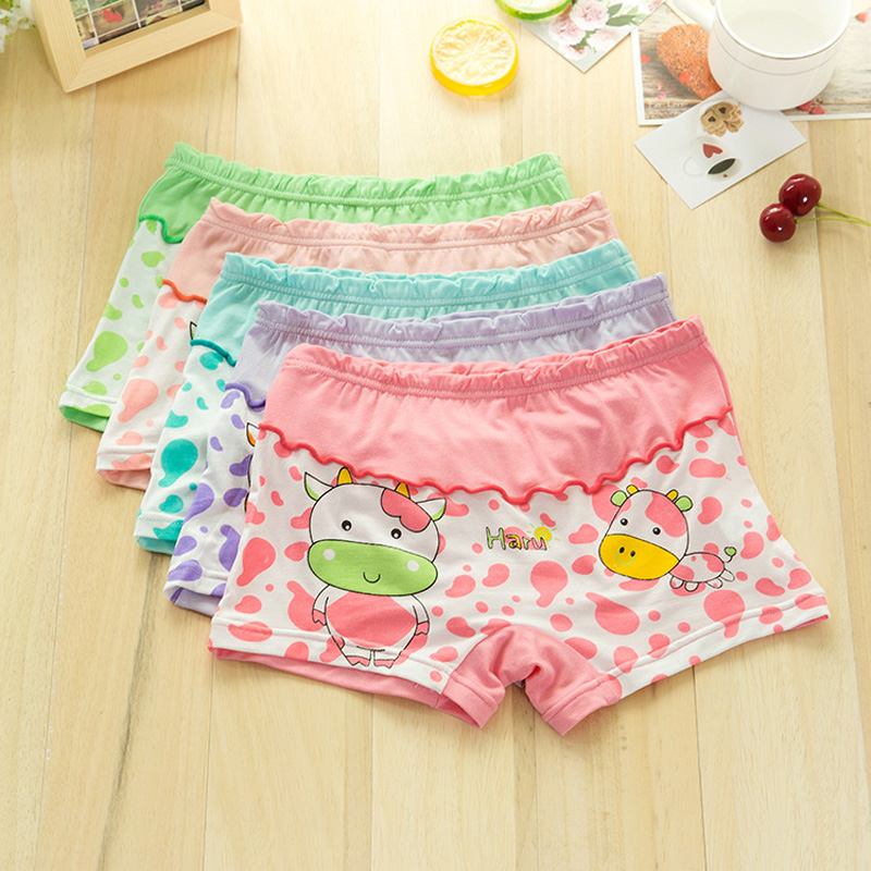 2018 hot sales Girl underwear Free shipping new arrived kids character boxer short children cattlepanties 5pcs/lot 2-8year