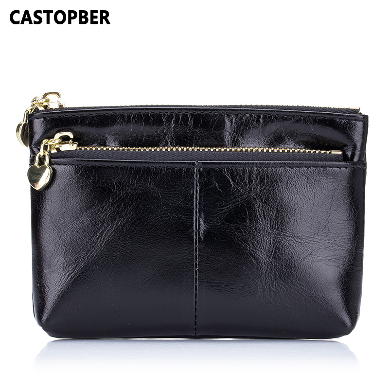 Mini Coin Purse Wallet Zipper Bag Oil Wax Cowhide Genuine Leather High Quality Women Small Bag Fashion Female Key Wallets Famous 2017 genuine cowhide leather brand women wallet short design lady small coin purse mini clutch cartera high quality
