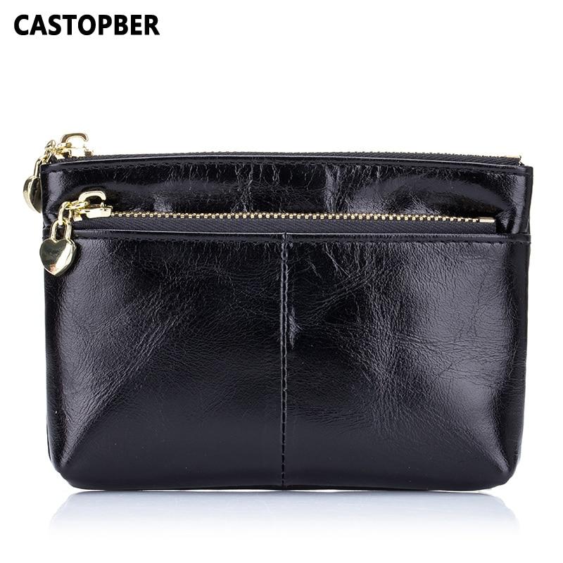 Mini Coin Purse Wallet Zipper Bag Oil Wax Cowhide Genuine Leather High Quality Women Small Bag Fashion Female Key Wallets Famous