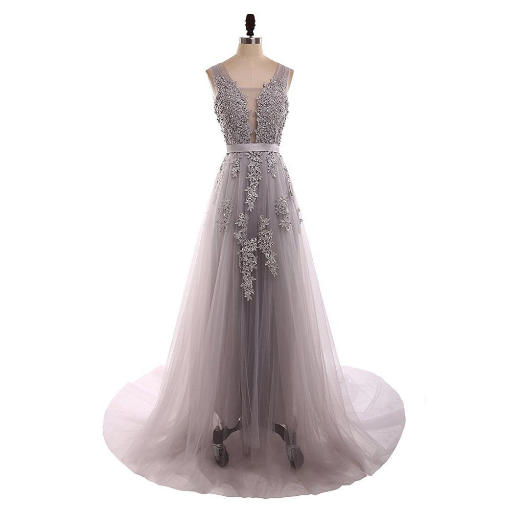 Long Grey Real Photo Illusion Sheer Lace Prom Slit Formal Bridesmaid Gown