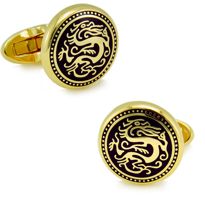Gold Electroplated + Enamel round Cuffliks dragon pattern high quality metal men's Cuff Links + Free Shipping !!! metal buttons